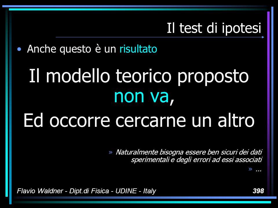 Flavio Waldner - Dipt.di Fisica - UDINE - Italy398 Il test di ipotesi Anche questo è un risultato Il modello teorico proposto non va, Ed occorre cerca