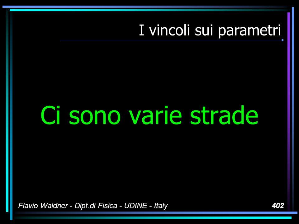 Flavio Waldner - Dipt.di Fisica - UDINE - Italy402 I vincoli sui parametri Ci sono varie strade