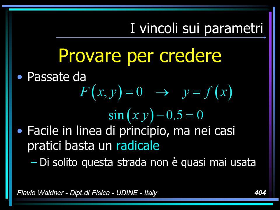 Flavio Waldner - Dipt.di Fisica - UDINE - Italy404 I vincoli sui parametri Provare per credere Passate da Facile in linea di principio, ma nei casi pr