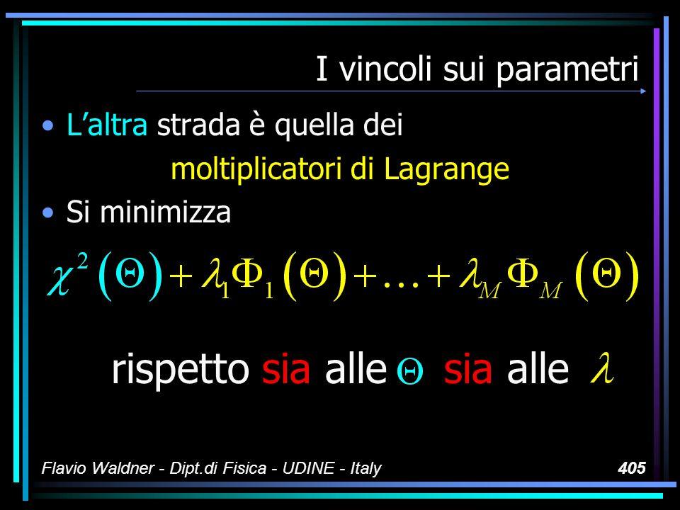 Flavio Waldner - Dipt.di Fisica - UDINE - Italy405 I vincoli sui parametri Laltra strada è quella dei moltiplicatori di Lagrange Si minimizza rispetto