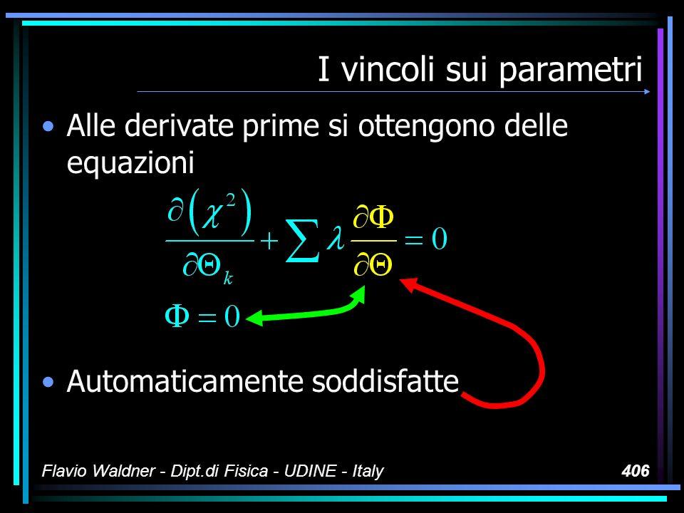 Flavio Waldner - Dipt.di Fisica - UDINE - Italy406 I vincoli sui parametri Alle derivate prime si ottengono delle equazioni Automaticamente soddisfatt