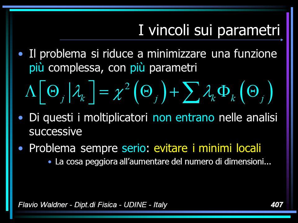 Flavio Waldner - Dipt.di Fisica - UDINE - Italy407 I vincoli sui parametri Il problema si riduce a minimizzare una funzione più complessa, con più par