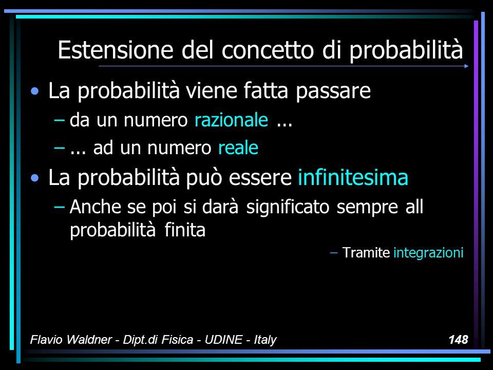 Flavio Waldner - Dipt.di Fisica - UDINE - Italy148 Estensione del concetto di probabilità La probabilità viene fatta passare –da un numero razionale..