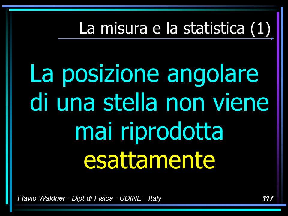 Flavio Waldner - Dipt.di Fisica - UDINE - Italy117 La misura e la statistica (1) La posizione angolare di una stella non viene mai riprodotta esattame