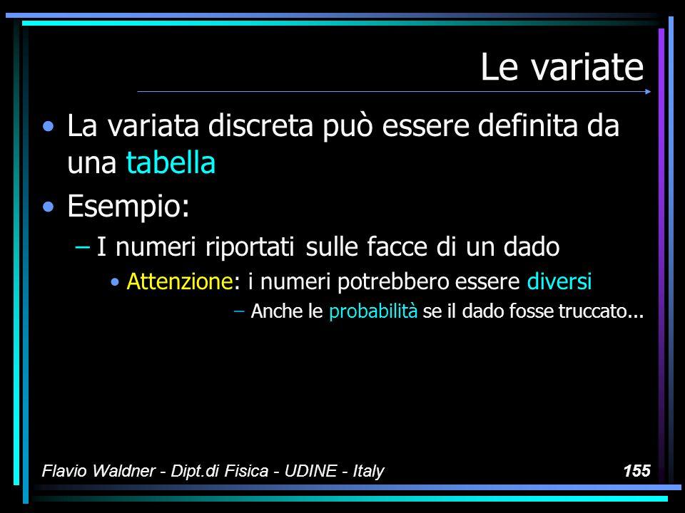 Flavio Waldner - Dipt.di Fisica - UDINE - Italy155 Le variate La variata discreta può essere definita da una tabella Esempio: –I numeri riportati sull