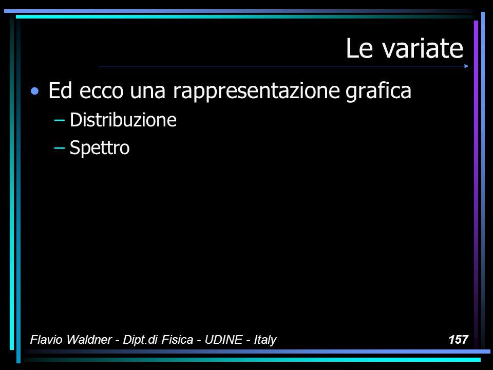 Flavio Waldner - Dipt.di Fisica - UDINE - Italy157 Le variate Ed ecco una rappresentazione grafica –Distribuzione –Spettro