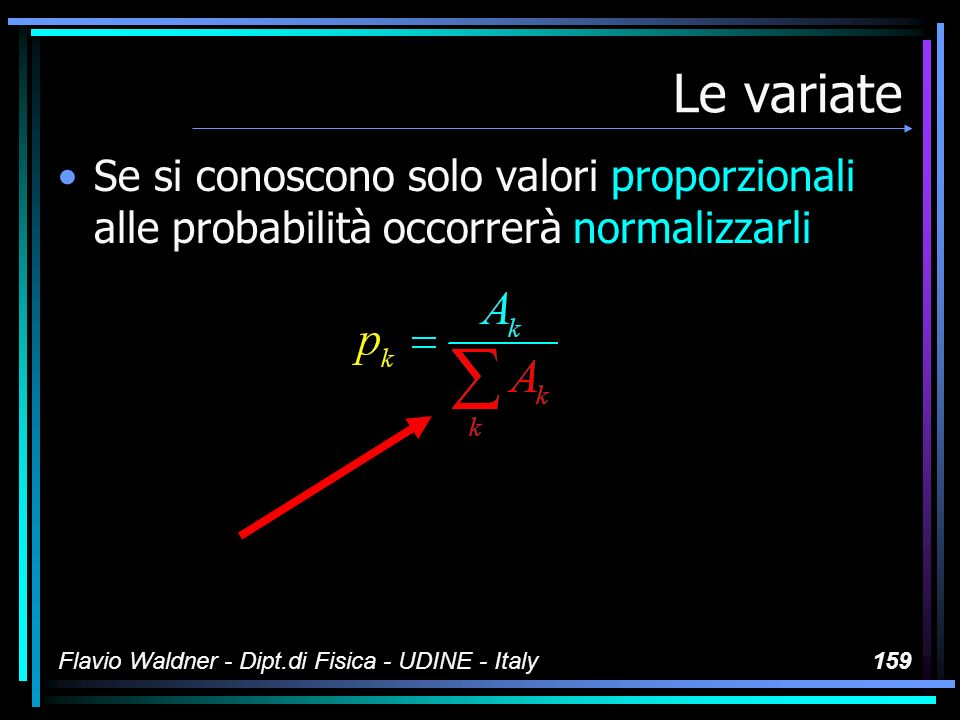 Flavio Waldner - Dipt.di Fisica - UDINE - Italy159 Le variate Se si conoscono solo valori proporzionali alle probabilità occorrerà normalizzarli