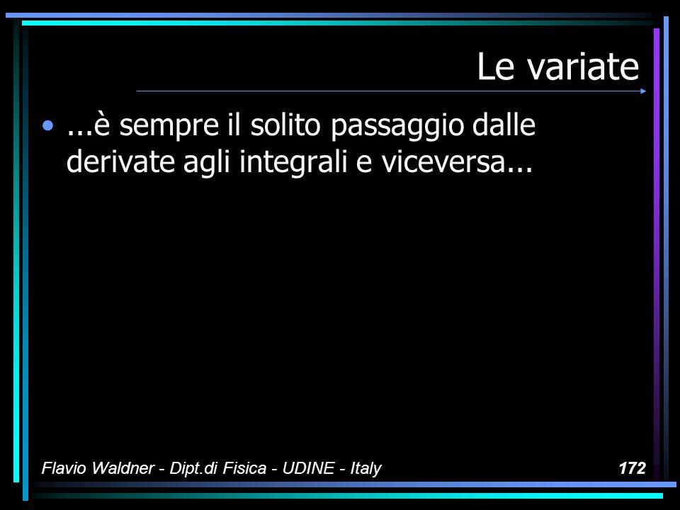 Flavio Waldner - Dipt.di Fisica - UDINE - Italy172 Le variate...è sempre il solito passaggio dalle derivate agli integrali e viceversa...