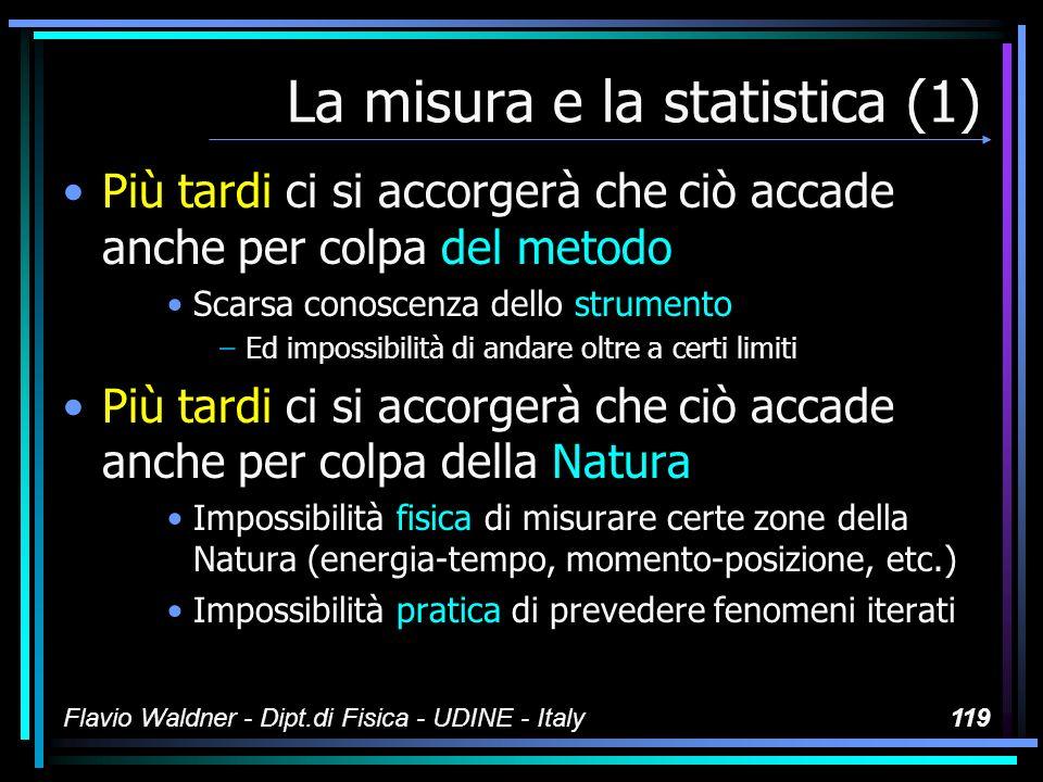 Flavio Waldner - Dipt.di Fisica - UDINE - Italy119 La misura e la statistica (1) Più tardi ci si accorgerà che ciò accade anche per colpa del metodo S