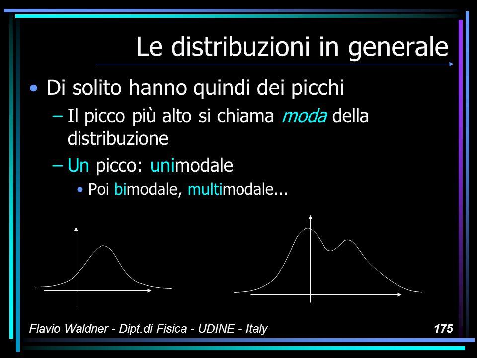 Flavio Waldner - Dipt.di Fisica - UDINE - Italy175 Le distribuzioni in generale Di solito hanno quindi dei picchi –Il picco più alto si chiama moda de