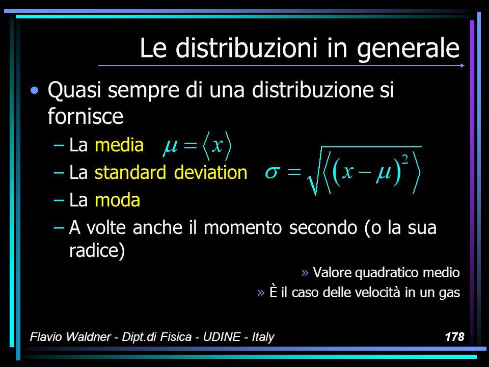 Flavio Waldner - Dipt.di Fisica - UDINE - Italy178 Le distribuzioni in generale Quasi sempre di una distribuzione si fornisce –La media –La standard d