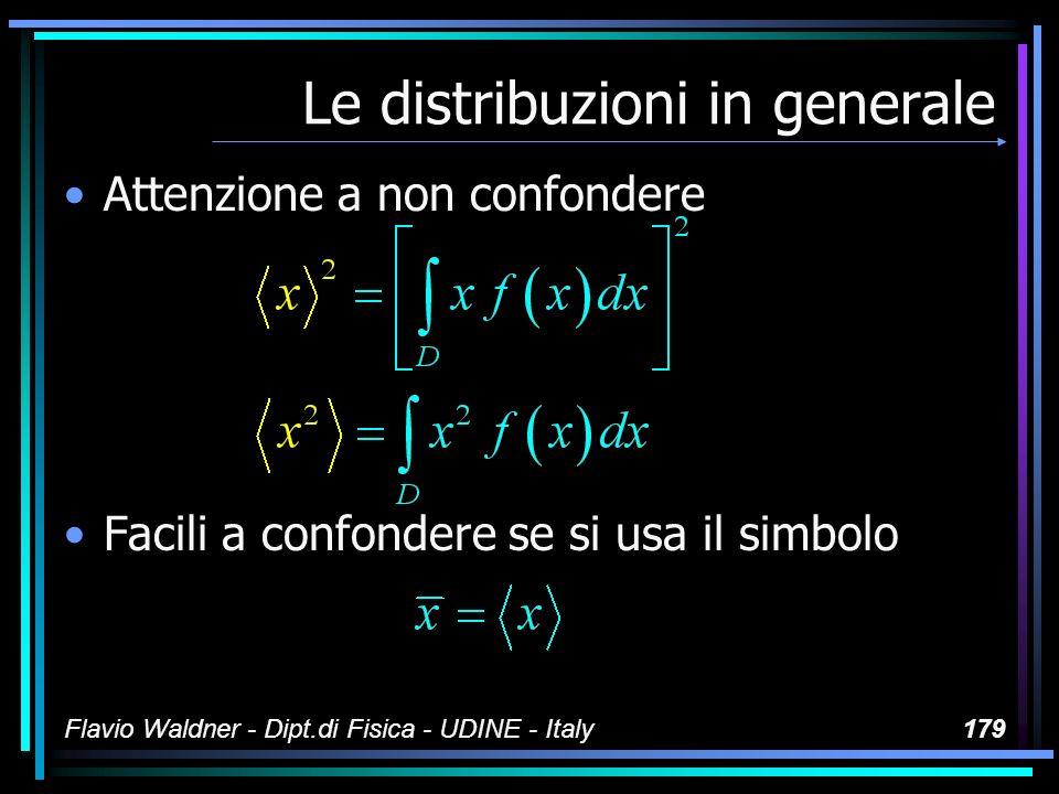 Flavio Waldner - Dipt.di Fisica - UDINE - Italy179 Le distribuzioni in generale Attenzione a non confondere Facili a confondere se si usa il simbolo