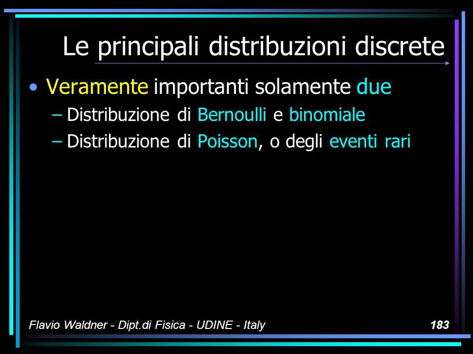 Flavio Waldner - Dipt.di Fisica - UDINE - Italy183 Le principali distribuzioni discrete Veramente importanti solamente due –Distribuzione di Bernoulli