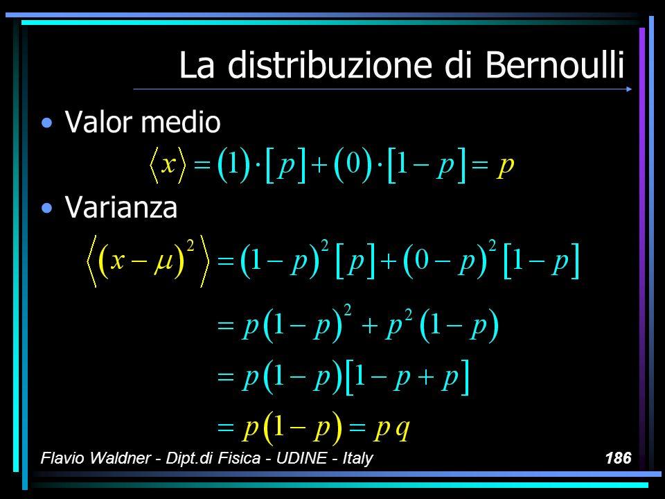 Flavio Waldner - Dipt.di Fisica - UDINE - Italy186 La distribuzione di Bernoulli Valor medio Varianza