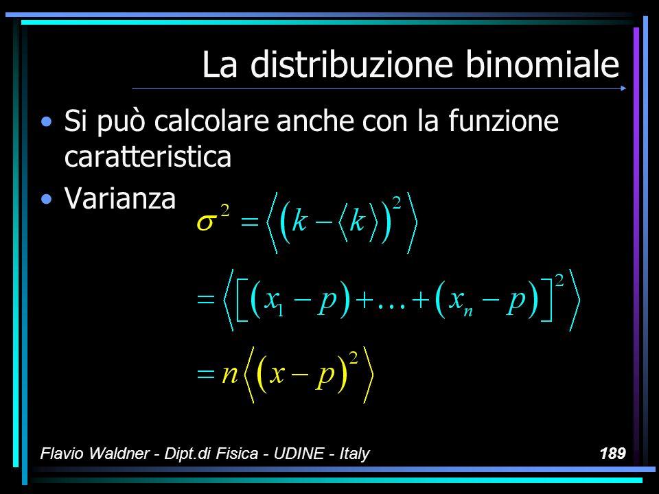 Flavio Waldner - Dipt.di Fisica - UDINE - Italy189 La distribuzione binomiale Si può calcolare anche con la funzione caratteristica Varianza