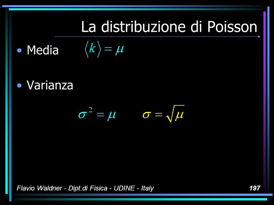 Flavio Waldner - Dipt.di Fisica - UDINE - Italy197 La distribuzione di Poisson Media Varianza
