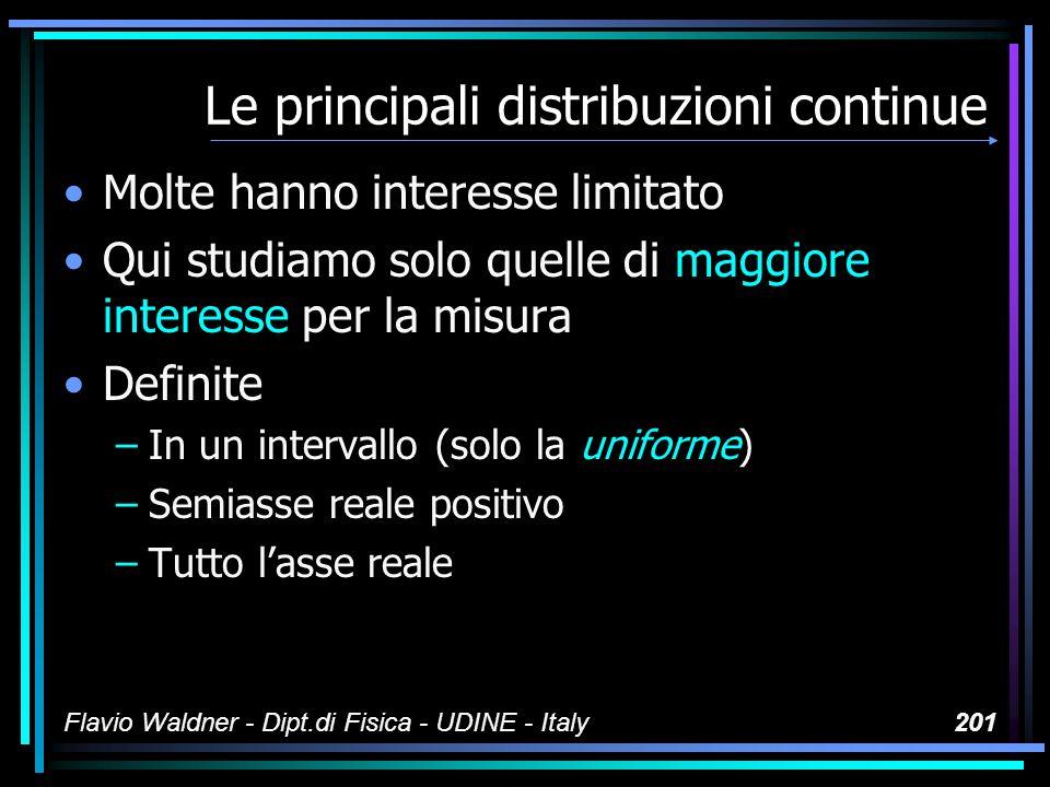 Flavio Waldner - Dipt.di Fisica - UDINE - Italy201 Le principali distribuzioni continue Molte hanno interesse limitato Qui studiamo solo quelle di mag