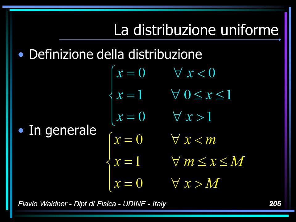 Flavio Waldner - Dipt.di Fisica - UDINE - Italy205 La distribuzione uniforme Definizione della distribuzione In generale