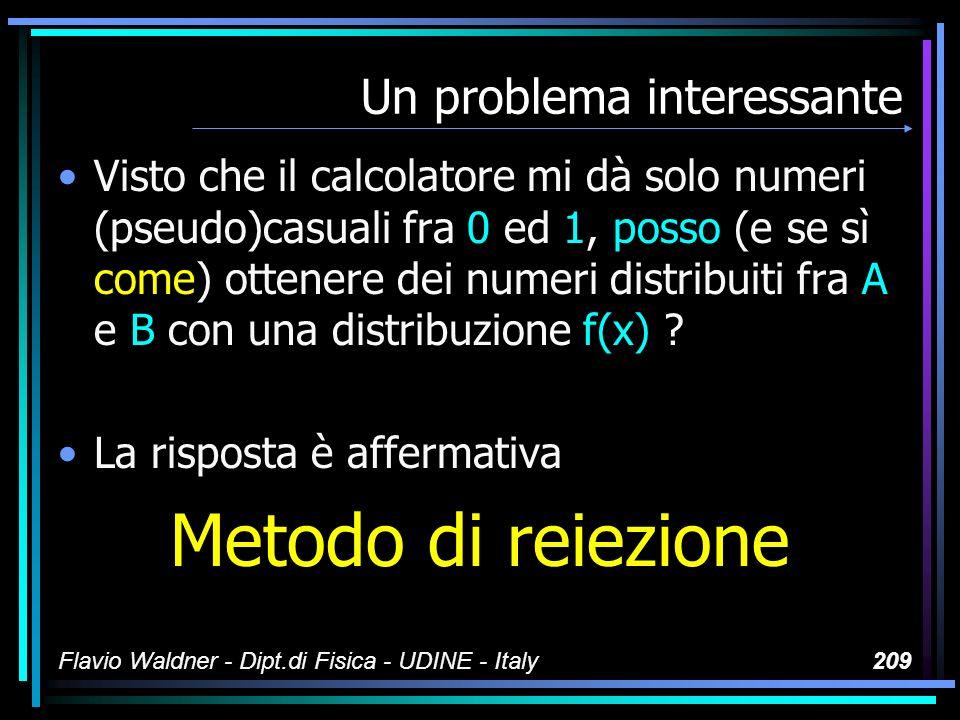 Flavio Waldner - Dipt.di Fisica - UDINE - Italy209 Un problema interessante Visto che il calcolatore mi dà solo numeri (pseudo)casuali fra 0 ed 1, pos