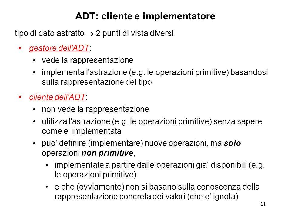 11 ADT: cliente e implementatore tipo di dato astratto 2 punti di vista diversi gestore dell'ADT: vede la rappresentazione implementa l'astrazione (e.