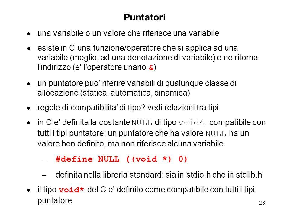 28 Puntatori una variabile o un valore che riferisce una variabile esiste in C una funzione/operatore che si applica ad una variabile (meglio, ad una