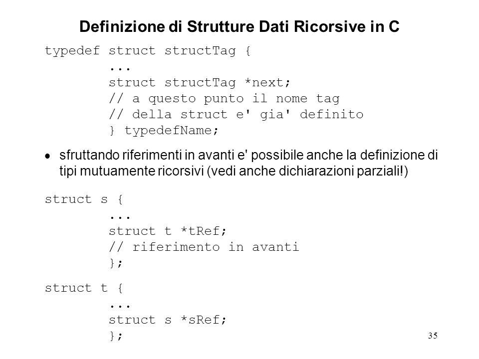 35 Definizione di Strutture Dati Ricorsive in C typedef struct structTag {... struct structTag *next; // a questo punto il nome tag // della struct e'