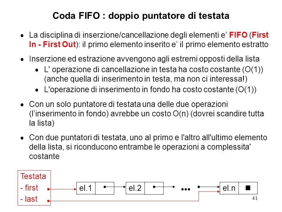 41 Coda FIFO : doppio puntatore di testata La disciplina di inserzione/cancellazione degli elementi e FIFO (First In - First Out): il primo elemento inserito e il primo elemento estratto Inserzione ed estrazione avvengono agli estremi opposti della lista L operazione di cancellazione in testa ha costo costante (O(1)) (anche quella di inserimento in testa, ma non ci interessa!) L operazione di inserimento in fondo ha costo costante (O(1)) Con un solo puntatore di testata una delle due operazioni (linserimento in fondo) avrebbe un costo O(n) (dovrei scandire tutta la lista) Con due puntatori di testata, uno al primo e l altro all ultimo elemento della lista, si riconducono entrambe le operazioni a complessita costante el.1el.2el.n Testata - first - last