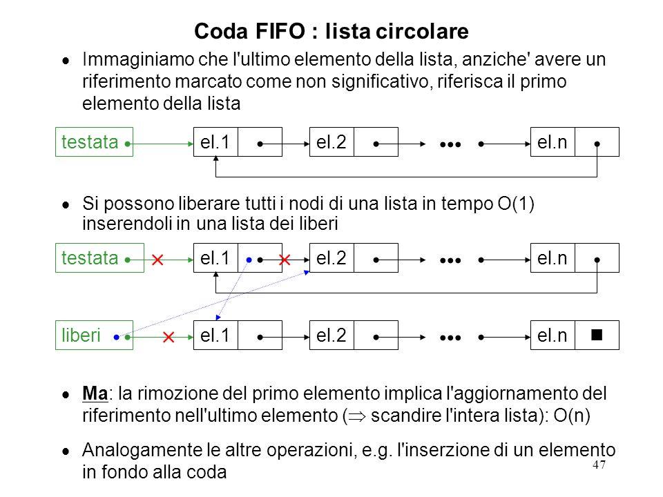 47 Coda FIFO : lista circolare Immaginiamo che l ultimo elemento della lista, anziche avere un riferimento marcato come non significativo, riferisca il primo elemento della lista Si possono liberare tutti i nodi di una lista in tempo O(1) inserendoli in una lista dei liberi Ma: la rimozione del primo elemento implica l aggiornamento del riferimento nell ultimo elemento ( scandire l intera lista): O(n) Analogamente le altre operazioni, e.g.