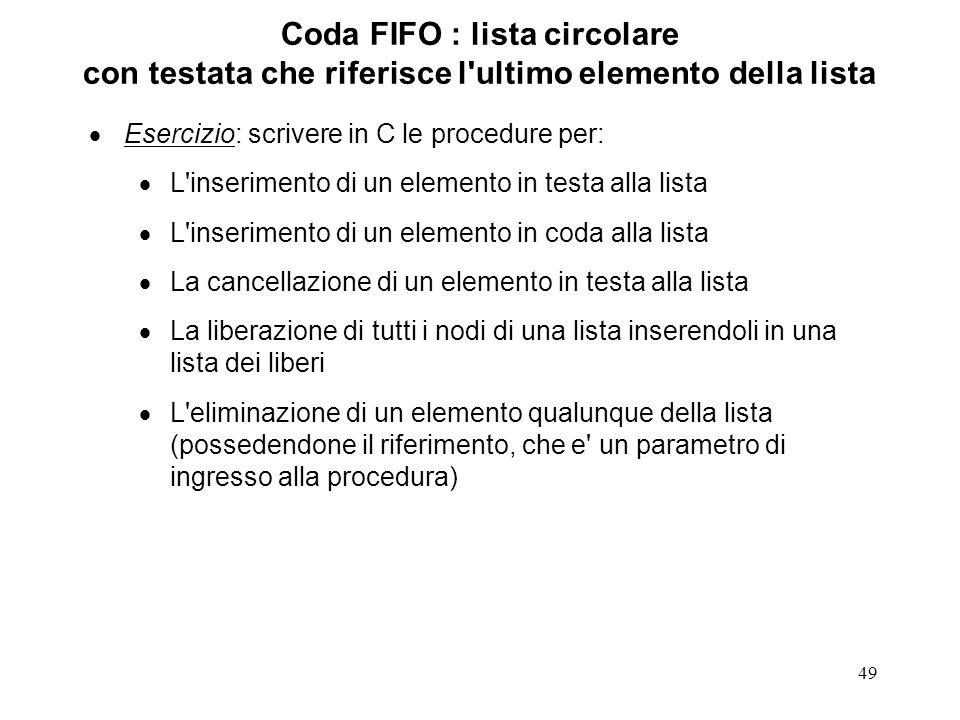 49 Coda FIFO : lista circolare con testata che riferisce l'ultimo elemento della lista Esercizio: scrivere in C le procedure per: L'inserimento di un