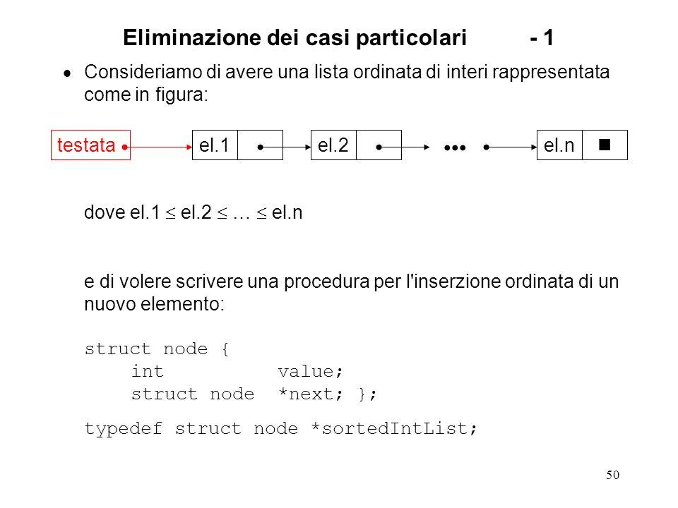 50 Eliminazione dei casi particolari- 1 Consideriamo di avere una lista ordinata di interi rappresentata come in figura: dove el.1 el.2 … el.n e di volere scrivere una procedura per l inserzione ordinata di un nuovo elemento: struct node { int value; struct node *next; }; typedef struct node *sortedIntList; el.1el.2el.n testata