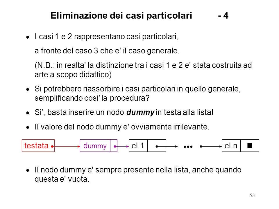 53 Eliminazione dei casi particolari- 4 I casi 1 e 2 rappresentano casi particolari, a fronte del caso 3 che e il caso generale.