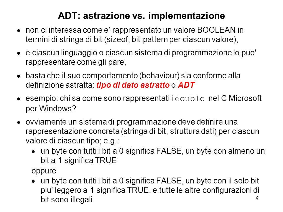 9 ADT: astrazione vs. implementazione non ci interessa come e' rappresentato un valore BOOLEAN in termini di stringa di bit (sizeof, bit-pattern per c