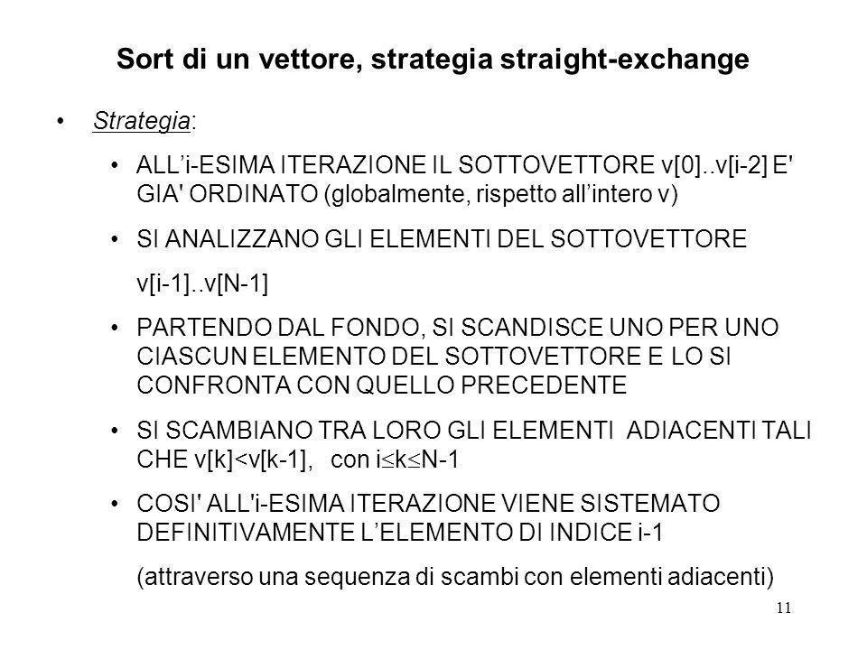 11 Sort di un vettore, strategia straight-exchange Strategia: ALLi-ESIMA ITERAZIONE IL SOTTOVETTORE v[0]..v[i-2] E GIA ORDINATO (globalmente, rispetto allintero v) SI ANALIZZANO GLI ELEMENTI DEL SOTTOVETTORE v[i-1]..v[N-1] PARTENDO DAL FONDO, SI SCANDISCE UNO PER UNO CIASCUN ELEMENTO DEL SOTTOVETTORE E LO SI CONFRONTA CON QUELLO PRECEDENTE SI SCAMBIANO TRA LORO GLI ELEMENTI ADIACENTI TALI CHE v[k]<v[k-1], con i k N-1 COSI ALL i-ESIMA ITERAZIONE VIENE SISTEMATO DEFINITIVAMENTE LELEMENTO DI INDICE i-1 (attraverso una sequenza di scambi con elementi adiacenti)