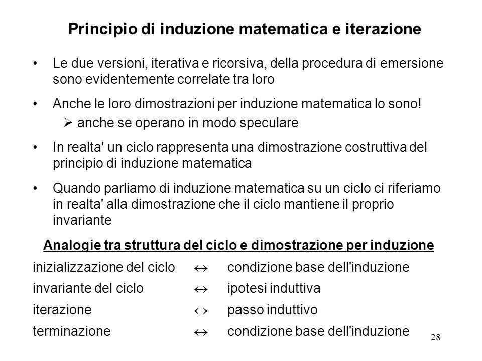28 Le due versioni, iterativa e ricorsiva, della procedura di emersione sono evidentemente correlate tra loro Anche le loro dimostrazioni per induzione matematica lo sono.