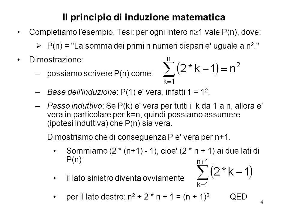 5 Per effettuare una dimostrazione per induzione matematica occorre: stabilire su quale quantita si applica l induzione: la lunghezza della sequenza dei primi numeri dispari esprimere il teorema nei termini della quantita su cui si applica l induzione P(n) = La somma dei primi n numeri dispari e uguale a n 2. stabilire per quale valore della quantita su cui si applica l induzione si ha la condizione base dell induzione sequenza dei primi numeri dispari di lunghezza 1 dimostrare direttamente il teorema nella condizione base dell induzione esplicitare l ipotesi induttiva e il passo induttivo Se P(k) e vera per tutti i k da 1 a n, allora e vera in particolare per k=n, quindi possiamo assumere (ipotesi induttiva) che P(n) sia vera.