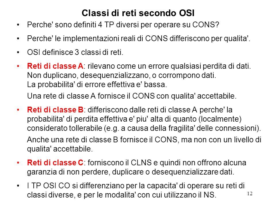 12 Classi di reti secondo OSI Perche' sono definiti 4 TP diversi per operare su CONS? Perche' le implementazioni reali di CONS differiscono per qualit