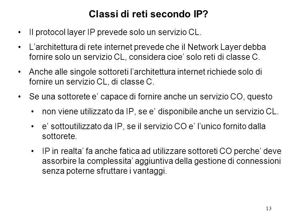 13 Classi di reti secondo IP? Il protocol layer IP prevede solo un servizio CL. Larchitettura di rete internet prevede che il Network Layer debba forn
