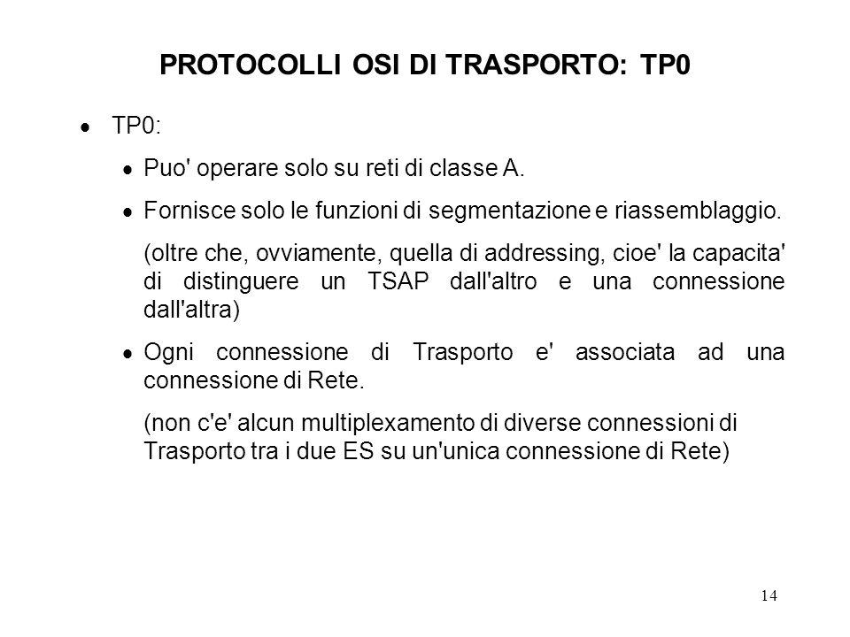 14 PROTOCOLLI OSI DI TRASPORTO: TP0 TP0: Puo' operare solo su reti di classe A. Fornisce solo le funzioni di segmentazione e riassemblaggio. (oltre ch