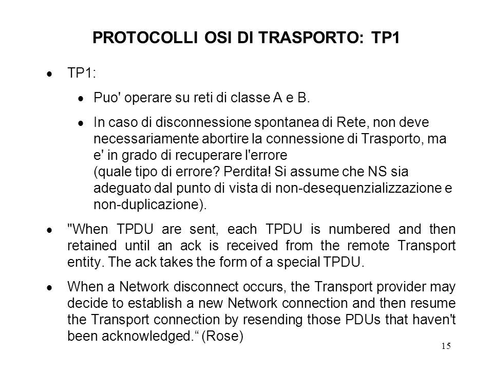 15 PROTOCOLLI OSI DI TRASPORTO: TP1 TP1: Puo' operare su reti di classe A e B. In caso di disconnessione spontanea di Rete, non deve necessariamente a