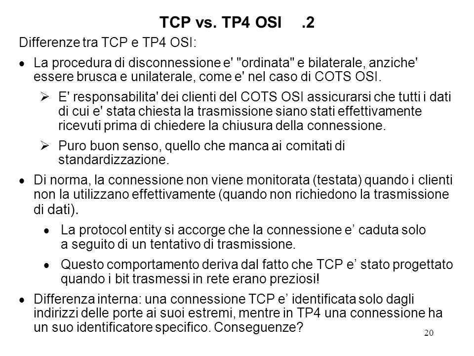 20 TCP vs. TP4 OSI.2 Differenze tra TCP e TP4 OSI: La procedura di disconnessione e'