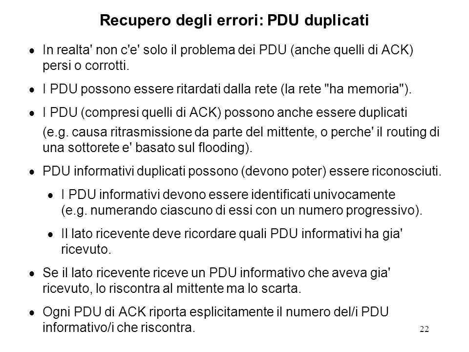 22 Recupero degli errori: PDU duplicati In realta' non c'e' solo il problema dei PDU (anche quelli di ACK) persi o corrotti. I PDU possono essere rita