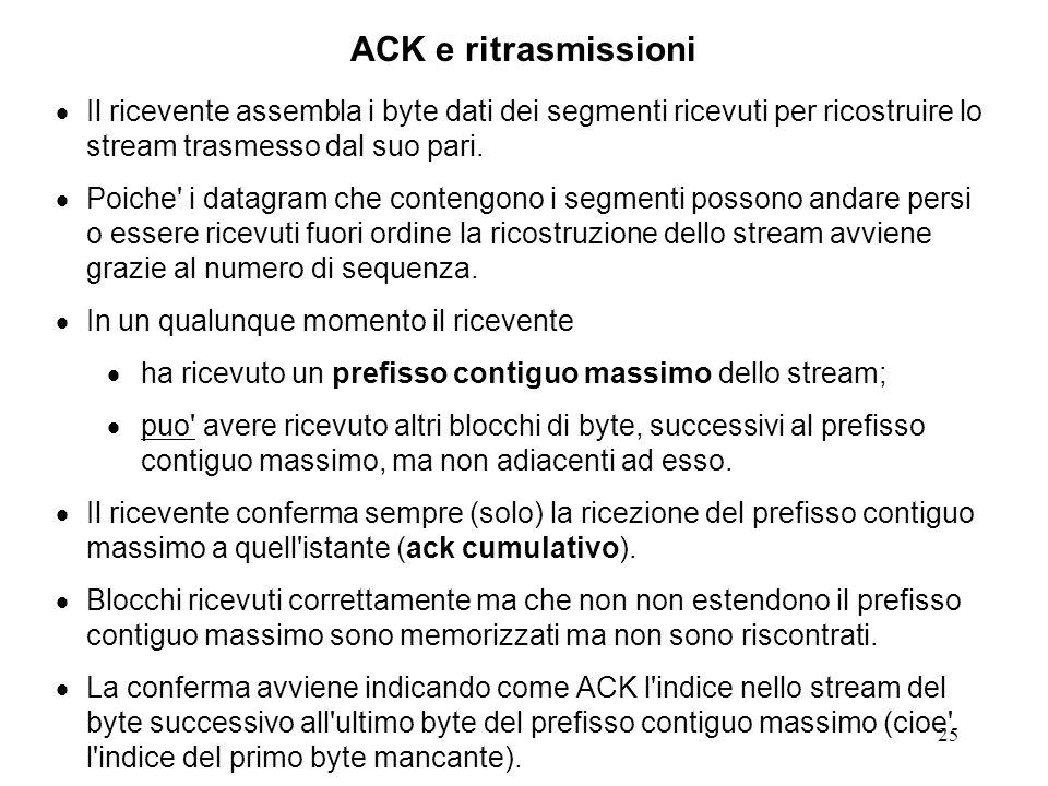 25 ACK e ritrasmissioni Il ricevente assembla i byte dati dei segmenti ricevuti per ricostruire lo stream trasmesso dal suo pari. Poiche' i datagram c