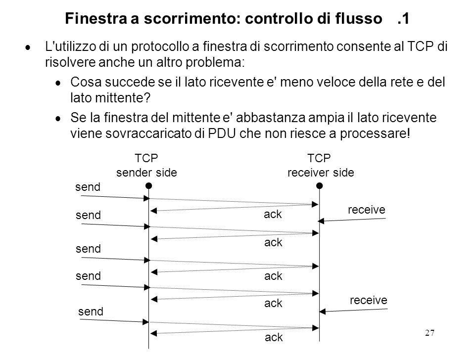 27 Finestra a scorrimento: controllo di flusso.1 L'utilizzo di un protocollo a finestra di scorrimento consente al TCP di risolvere anche un altro pro