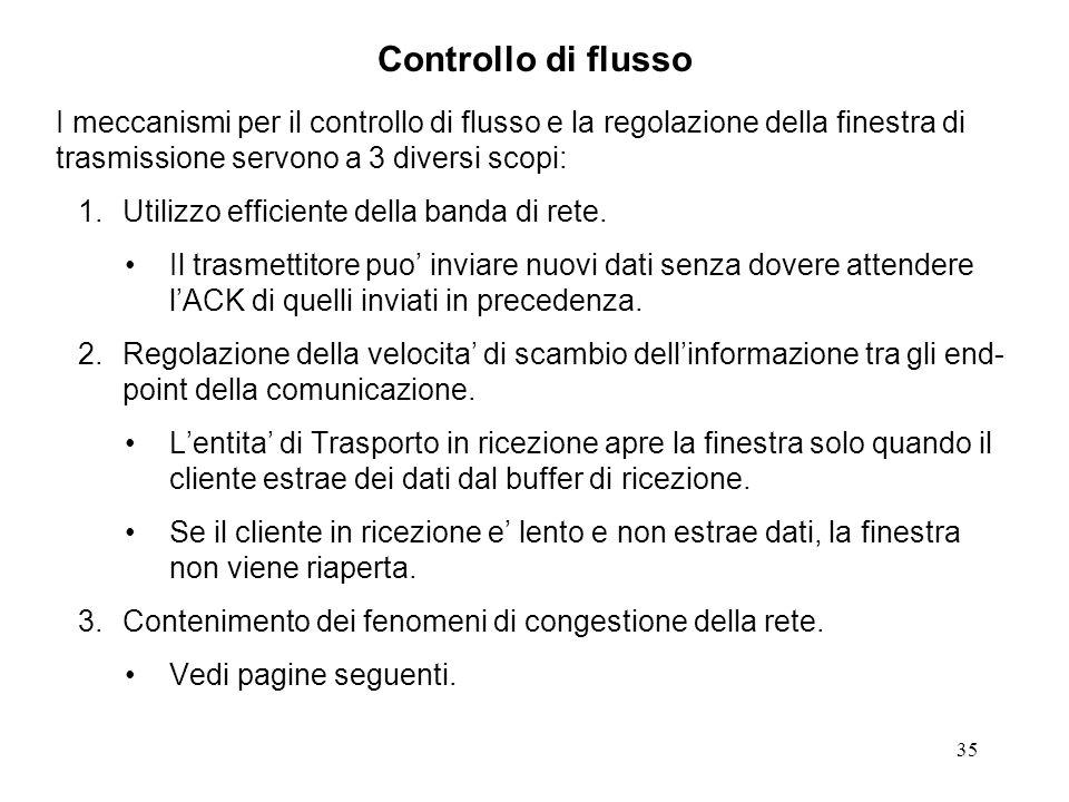 35 Controllo di flusso I meccanismi per il controllo di flusso e la regolazione della finestra di trasmissione servono a 3 diversi scopi: 1.Utilizzo e