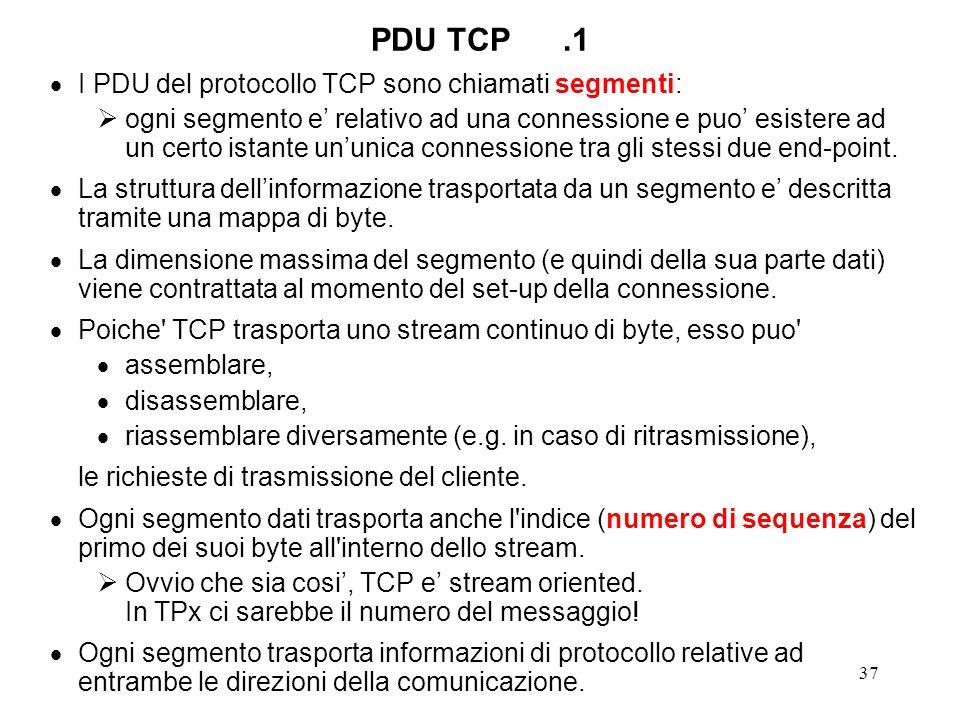 37 PDU TCP.1 I PDU del protocollo TCP sono chiamati segmenti: ogni segmento e relativo ad una connessione e puo esistere ad un certo istante ununica c