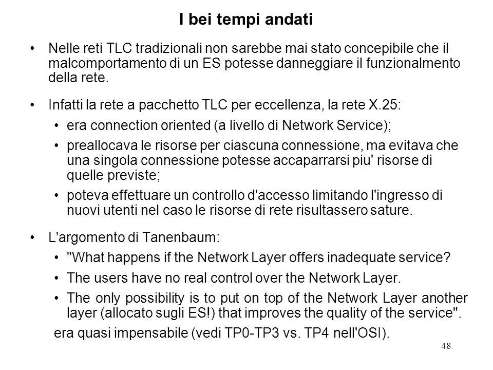 48 I bei tempi andati Nelle reti TLC tradizionali non sarebbe mai stato concepibile che il malcomportamento di un ES potesse danneggiare il funzionalm