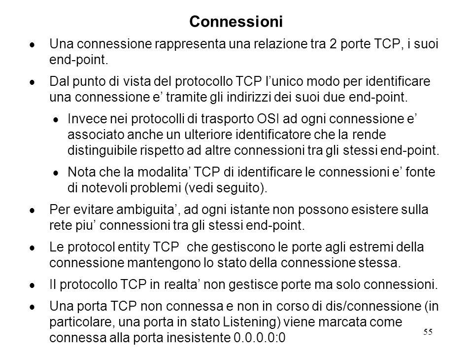 55 Connessioni Una connessione rappresenta una relazione tra 2 porte TCP, i suoi end-point. Dal punto di vista del protocollo TCP lunico modo per iden