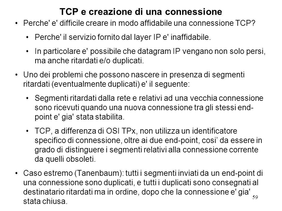 59 TCP e creazione di una connessione Perche' e' difficile creare in modo affidabile una connessione TCP? Perche' il servizio fornito dal layer IP e'
