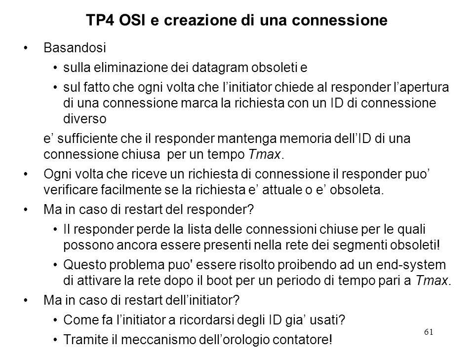 61 TP4 OSI e creazione di una connessione Basandosi sulla eliminazione dei datagram obsoleti e sul fatto che ogni volta che linitiator chiede al respo