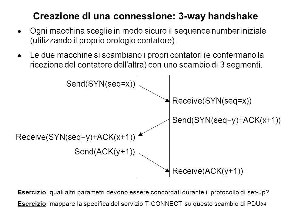 64 Creazione di una connessione: 3-way handshake Ogni macchina sceglie in modo sicuro il sequence number iniziale (utilizzando il proprio orologio con
